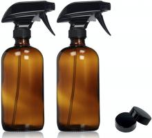 Empty Amber Glass Spray Bottles with Labels (2 Pack) - 16oz